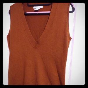 Cabi cinnamon/cognac V neck sweater vest